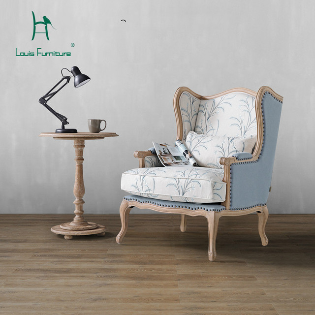 US $838.9 |Louis Fashion Living Room Chairs American Cotton Linen Down Oak  Cloth Tiger Nordic Casual Lazy Little Sofa-in Living Room Chairs from ...
