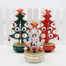 1PC Handmade Christmas Decoration DIY Wooden Tree Shape Music Box Festival Home Decor Table Desk Ornament Supplies 29CMx16CM