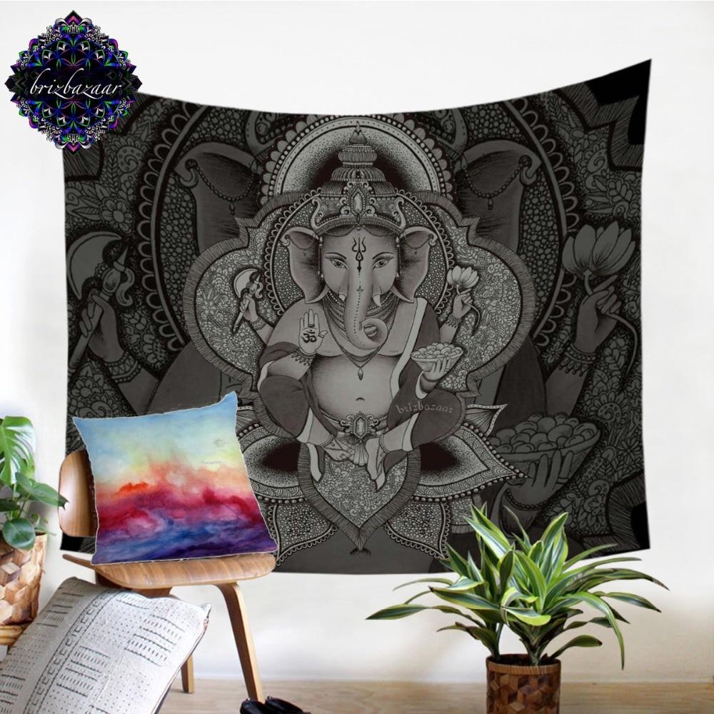 Ganesha by Brizbazaar Tapestry Wall Hanging Boho Elephant Sheet Indian God Bedspreads Ethnic Indian Symbol Wall Art Home Decor