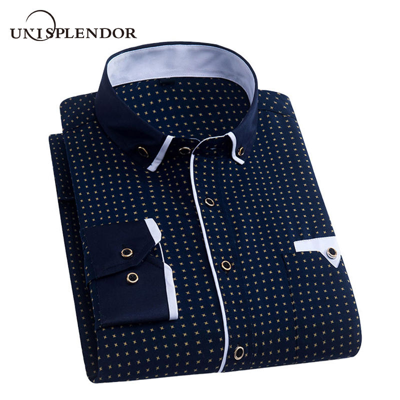 Men Dress Shirt 2019 Spring New Arrival Button Down Collar High Quality Long Sleeve Slim Fit Mens Business Shirts S-4XL YN026