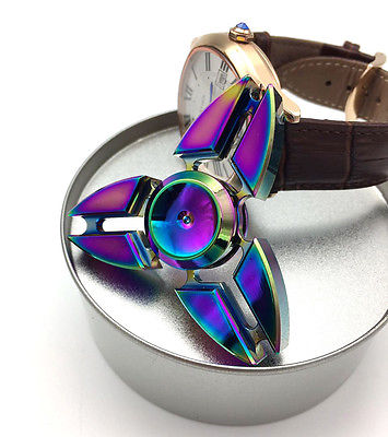 Pudcoco Rainbow Hand Finger Spinner EDC Fidget Stress Relief Focus Toys For Kids Adults pudcoco metal boys girls rainbow fidget hand finger spinner focus edc bearing stress toys kids adults