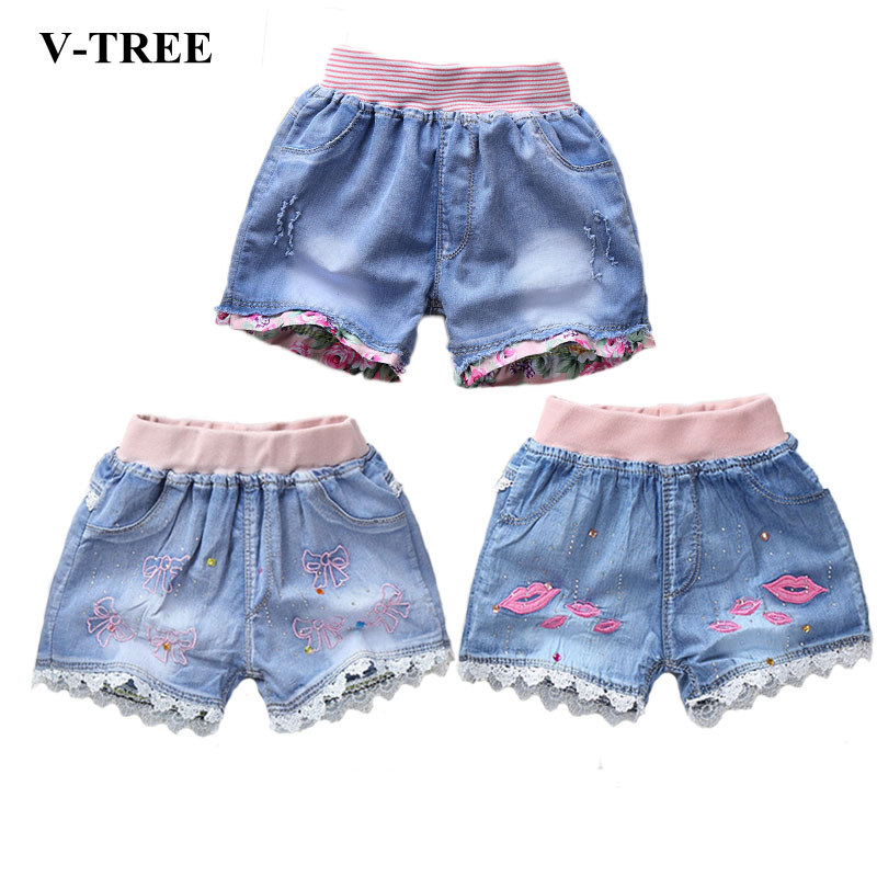 цена V-TREE Girls Summer Shorts Denim Shorts For Girls Fashion Girls Jean Shorts Children Sequin Shorts