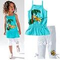 Розничная Новый 2015 Девочка в 2 шт костюм устанавливает симпатичный медведь детская одежда наборы жилет футболки + леггинсы, девушки летние комплекты одежды
