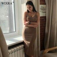 WIXRA Basic Dress Sexy Bodycon Party Dress Women V Neck Side Split Rib Knit Summer Cami