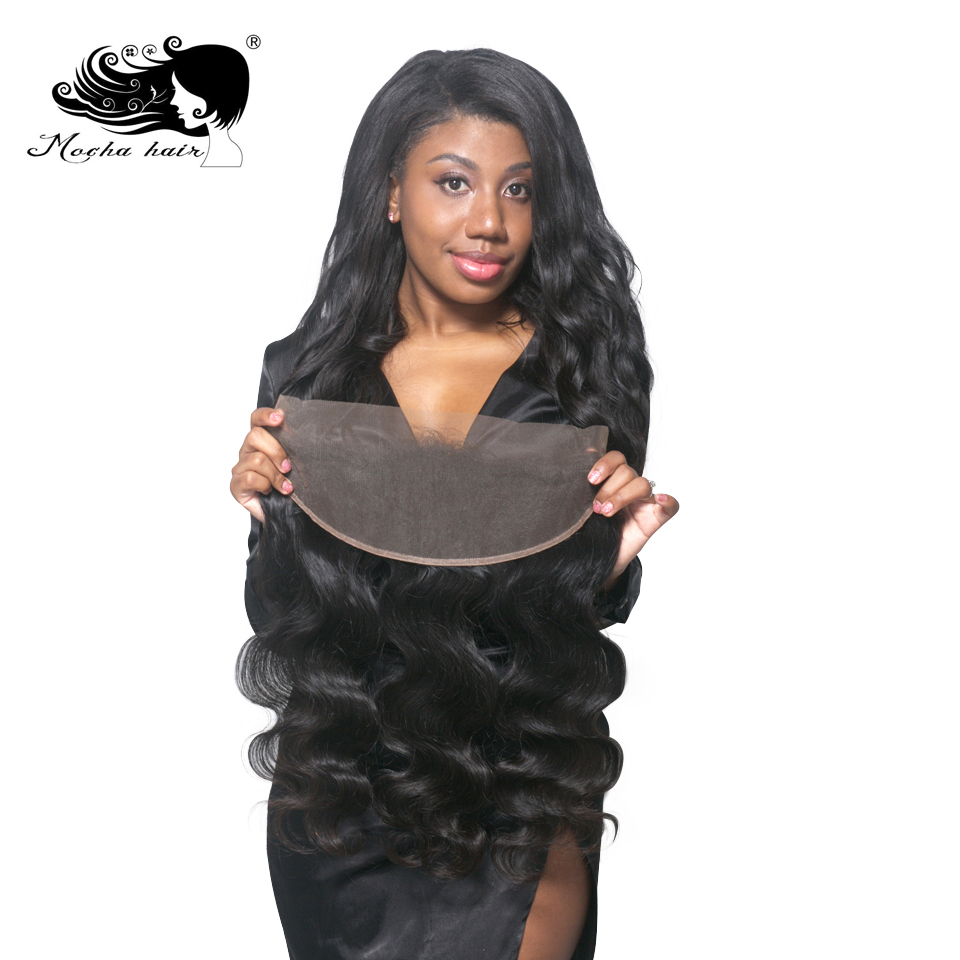 Mocha Hair Lace Frontal Closure 13X4  Brazilian Virgin Hair Body Wave Nature Color  100% Human Hair