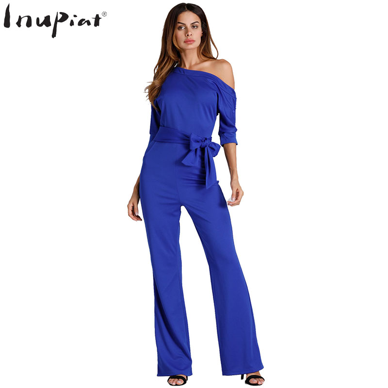 Plus Size Jumpsuits Romper for Women 2018 New Fashion Style Half Sleeve One Shoulder Off Long Pants Outfit Jumpsuit for Ladies
