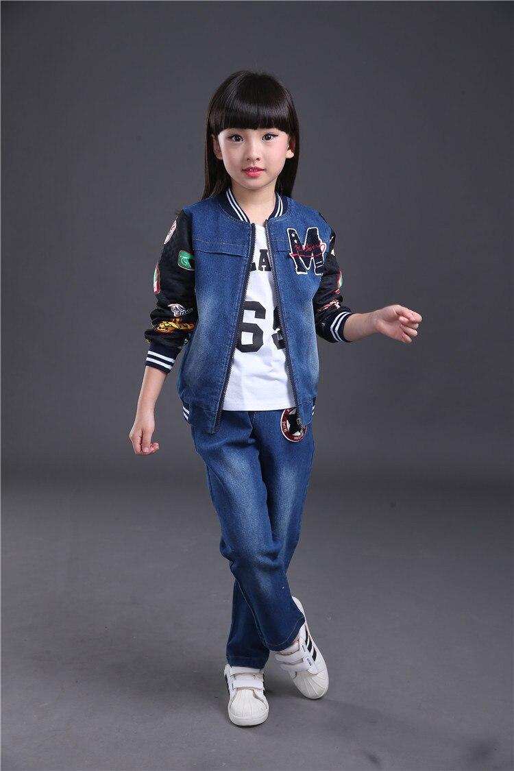 491477549b 4-14 years Spring fall Style small flower Girls clothing set Denim jacket +  t-shirt ...