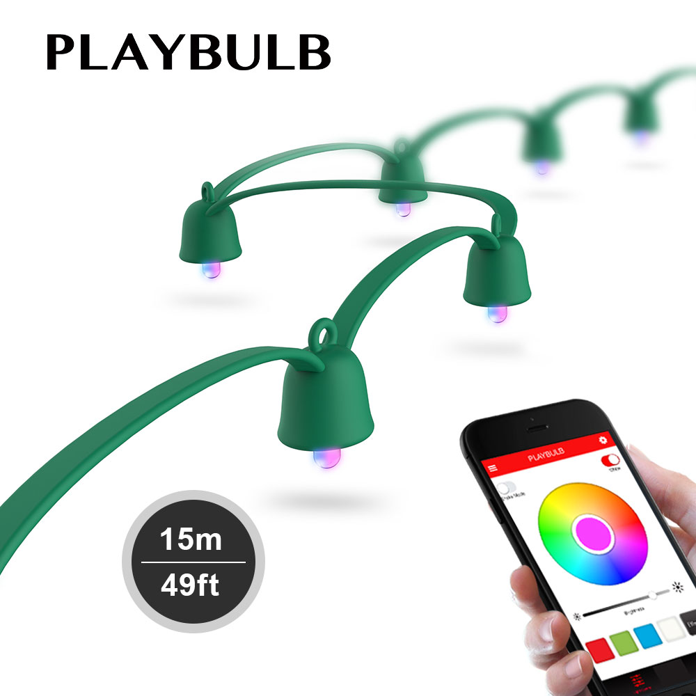 MIPOW PLAYBULB Smart Christmas LED Lights Colorful Fairy Rope String Light Indoor Outdoor Xmas Decorations Party Lighting 15M globe fairy string bulb lights for indoor outdoor wedding christmas xmas thanksgiving party events home roof decor colorful