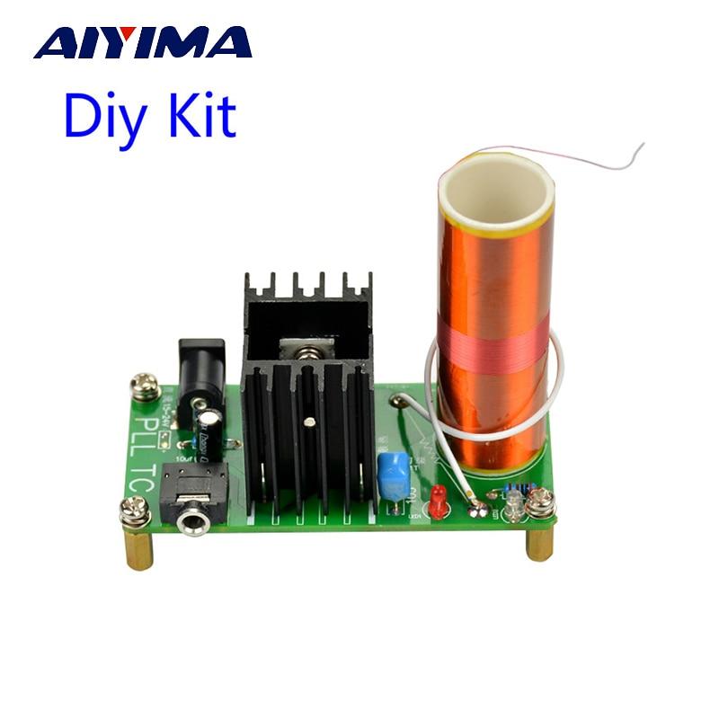 Aiyima Kit Fai Da Te 15 W Mini Musica Altoparlante Tesla Tesla Coil Plasma Arc Generatore di Trasmissione Senza Fili DC 15-24 v