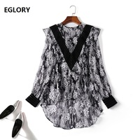 High Quality Chiffon Blouse 2019 Spring Summer Casual Blouse Women Vintage Floral Print Asymmetrical Long Sleeve Tops Female