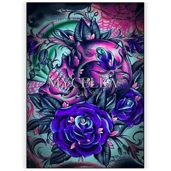 Costura completa 5d pintura diamante cráneo rosa y azul imagen rosa de diamantes de imitación mosaico bordado Cruz puntada decoración para el hogar