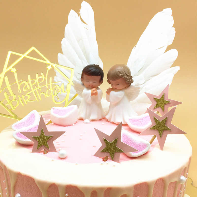 Strange Baby Shower Cake Toppers Cute Doll Angel Wings Birthday Cake Decor Funny Birthday Cards Online Elaedamsfinfo