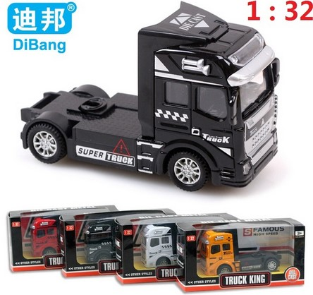 2016 Good quality Container Truck Kids Toys Car 1:32 Pull Back Hot Alloy Plastic Toy Model Cars Children's Gift