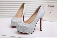 Fashion Women s Silver Rhinestone Prom Pumps High Heel Crystal Brand Glitter Sparkly Platforms Silver Red