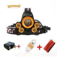 Yunmai High Power USB 5 Led CREE Headlamp XM L T6 Q5 Headlight 15000 Lumens Waterproof
