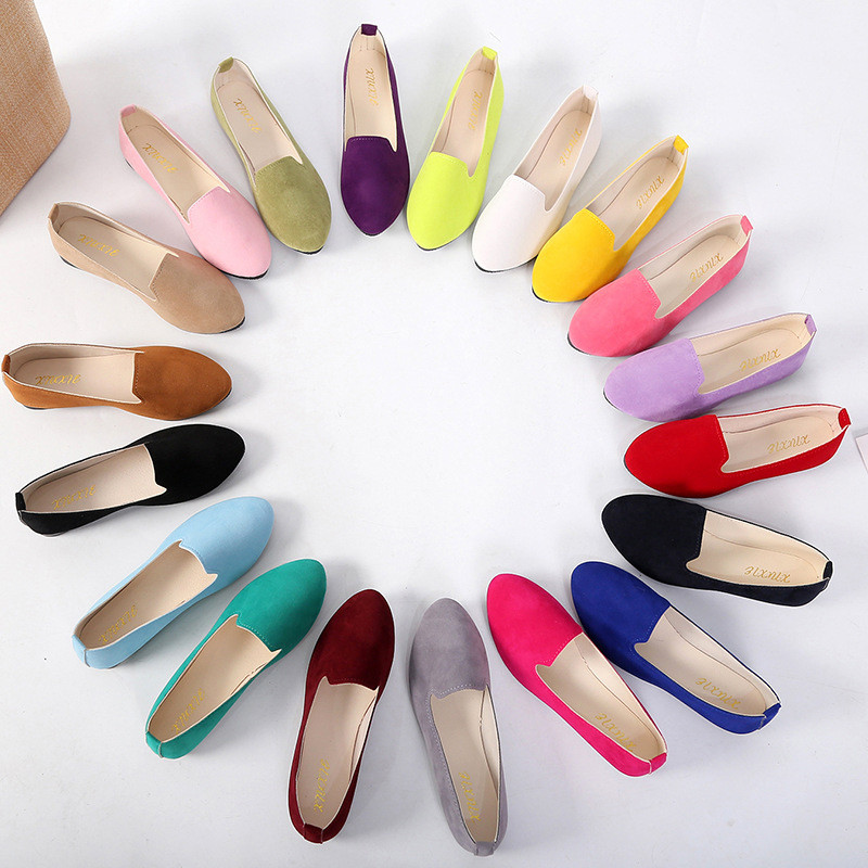 Plus Size 43 Candy Colors Women Ballet Flats Slip On Ladies Loafers Solid Suede Shoes Woman Mujer Casual Daily Footwear XWD7286