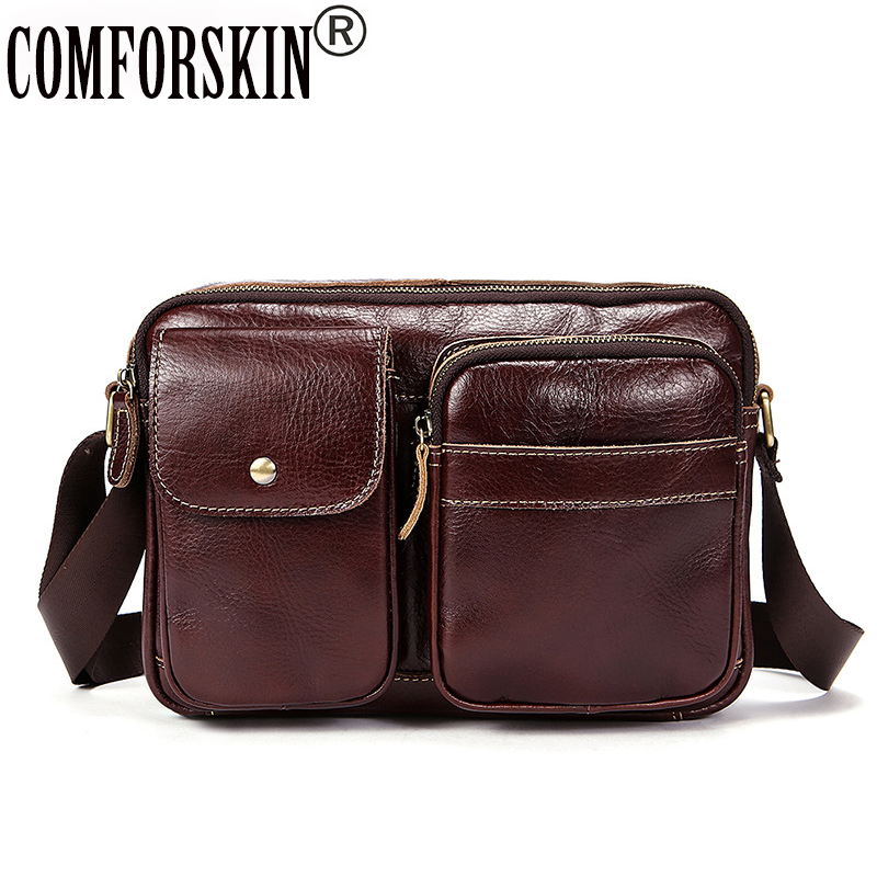 COMFORSKIN Brand Men Leather Messenger Bags Bolsa Masculina New Arrivals Luxurious 100% Genuine Leather Men Shoulder Bags 2018 new genuine leather men shoulder bags 100