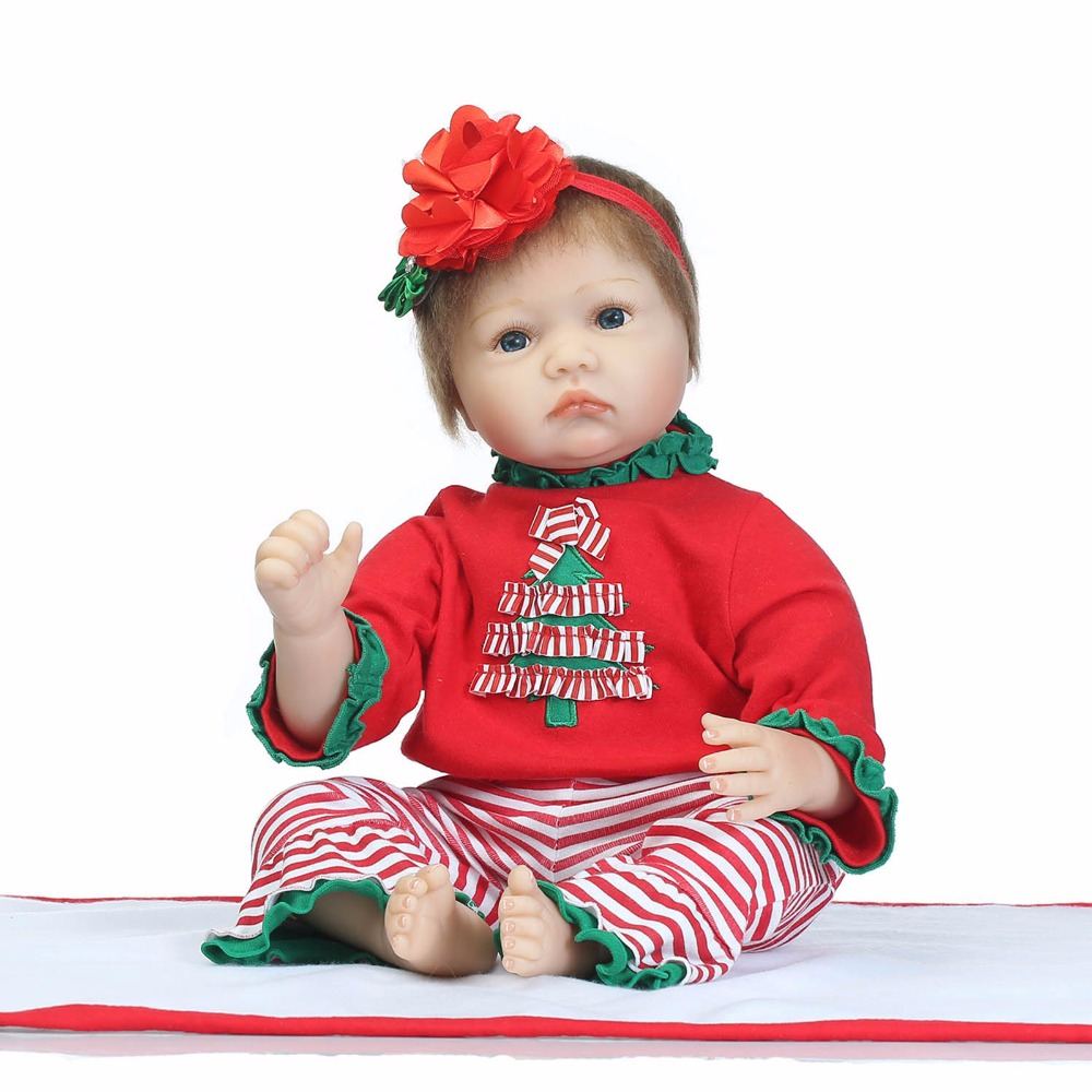 """Buy 22"""" reborn dolls toys silicone newborn babies red Christmas costumes  children xmas new year gift drink poupee bonecas"""