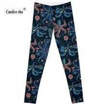 Leggings 2016 New Brand new model Octopus and starfish 3D Print Women Black High Waist Pants Wear Super Soft