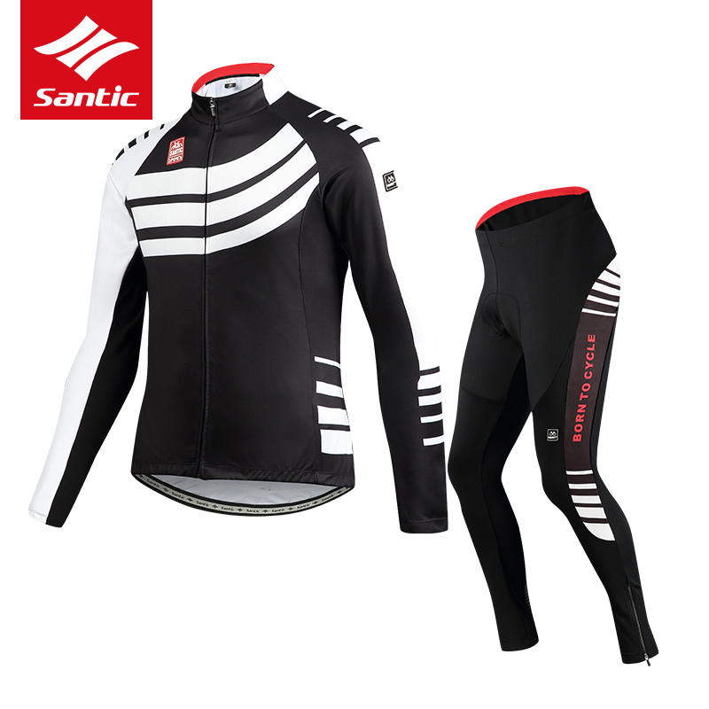 Santic Cycling Jersey Set Men Autumn Winter Fleece Thermal Racing Cycling Clothing Road Bike Clothes Bicycle Jacket Set santic autumn winter women winter cycling set bicycle jacket padded pants pro team cycling clothing mtb bike long jersey set