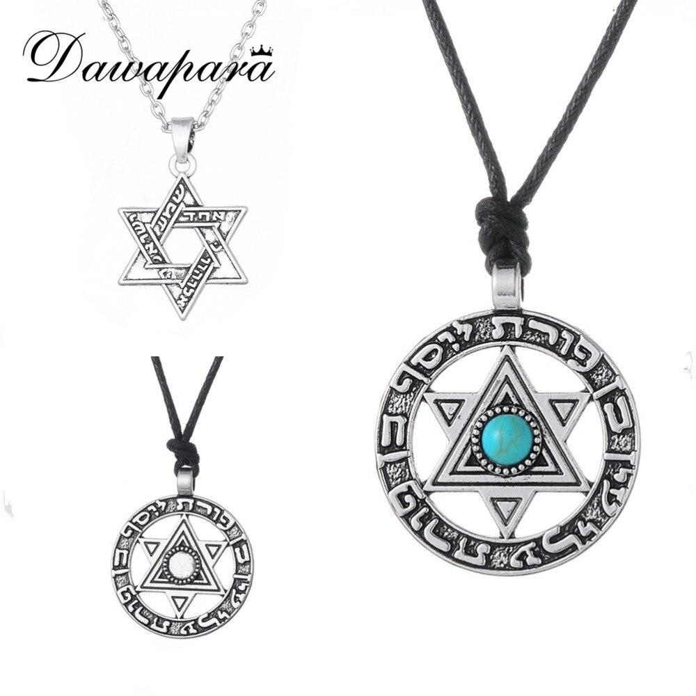 Dawapara altı köşeli yıldız kolyesi yahudi takı Vintage İbranice kolye dini takılar erkekler ve kadınlar için noel hediyeleri