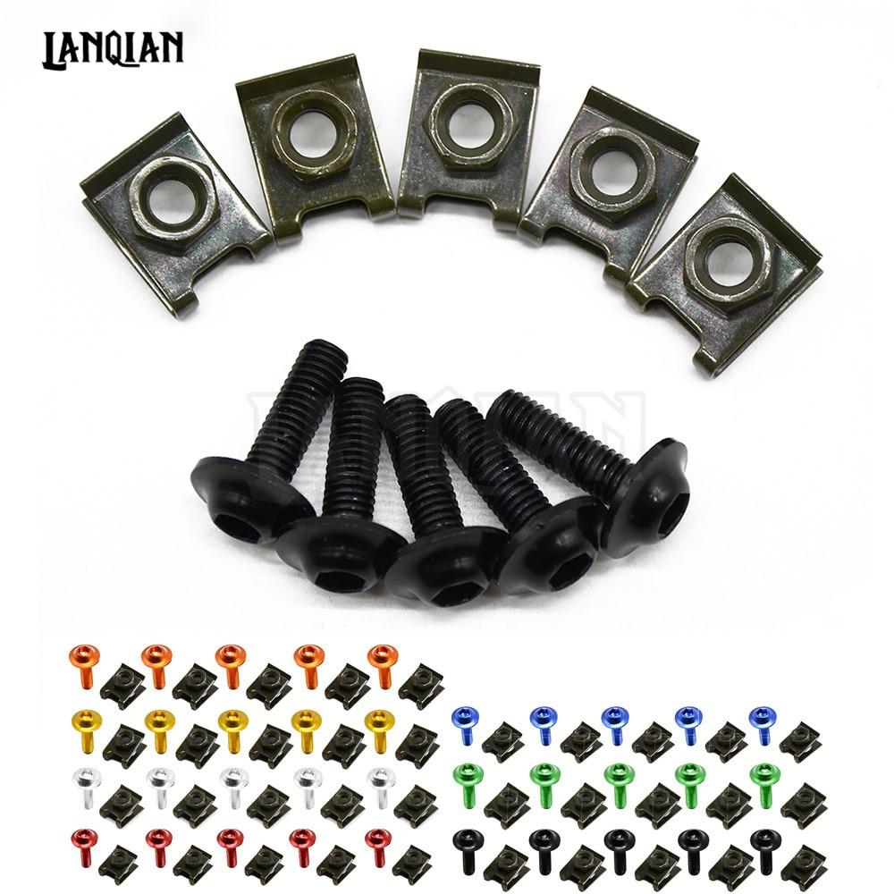 6mm Motorbike CNC Fairing body work Bolts Screws 5 pcs For Honda CB919 CB1000R CBR600RR CBR900RR CBR929RR Suzuki DL1000 V-STROM