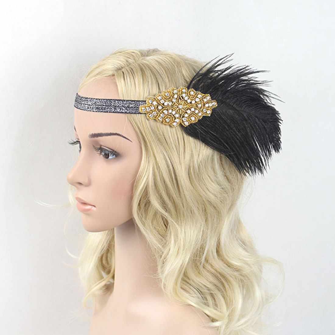 Girls Novelty Feather Headband White Rhinestone Beaded  Hairband  Vintage Party Headpiece  Hair Accessories You Deserve One headpiece