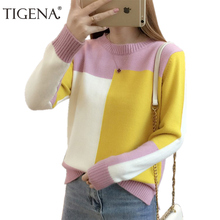 Knitted Sweater TIGENA Pullover Jumper Women Long-Sleeve Contrast-Color And Female