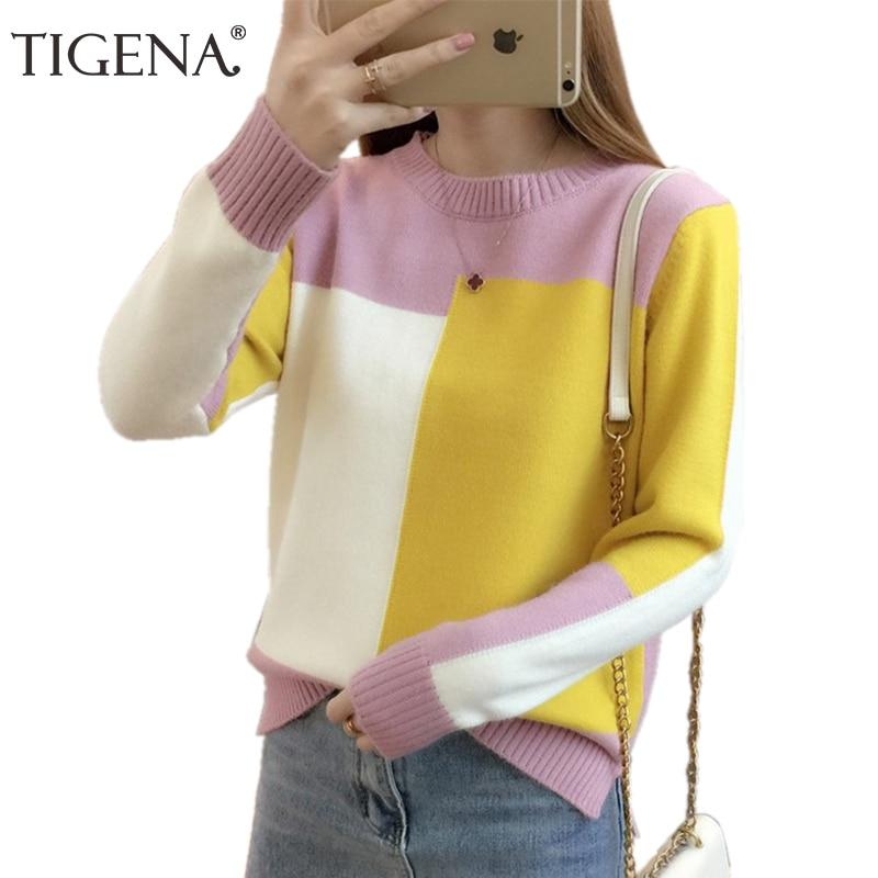 TIGENA contraste Color invierno suéter mujeres 2018 manga larga Jumper mujeres suéter y pulóver tejido suéter mujer Pull Femme