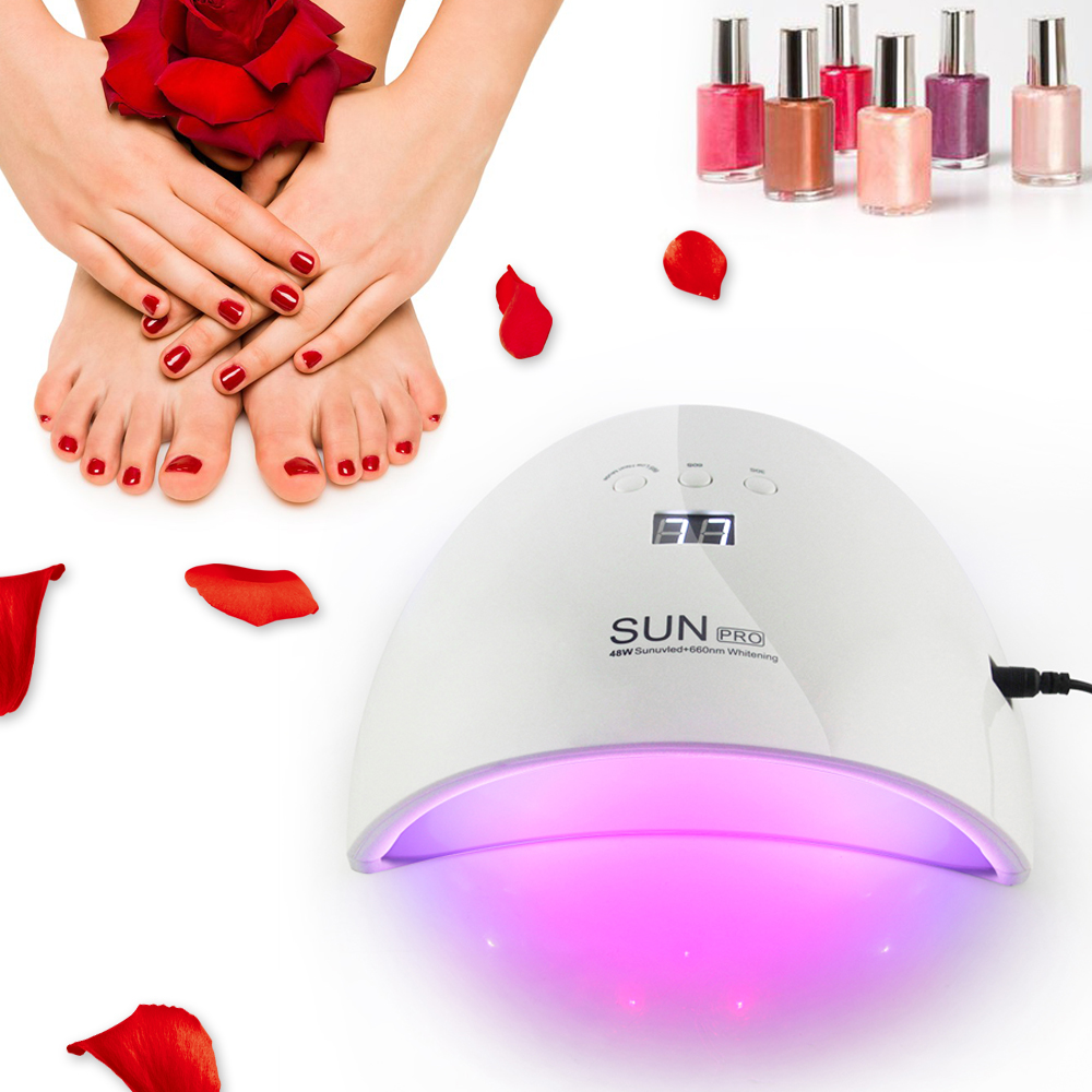 LKE New Nail Dryer 48W UV Lamp Portable 20leds For Curing All Gels Manicure Nail Art Gel Polish Varnish with 30s 60s 90s timer  t2n2 24w nail dryers uv mini led lamp nail dryer polish machine curing light with lcd display manicure machine for all gels