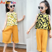 Girls Summer Print Outfits For Kids Sleeveless Shirts Knee Length Pants Suits Child Chiffon Tops Trousers