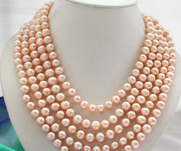 NEW 001792 Long 100 9-10mm pink round freshwater cultured pearl necklaceNEW 001792 Long 100 9-10mm pink round freshwater cultured pearl necklace