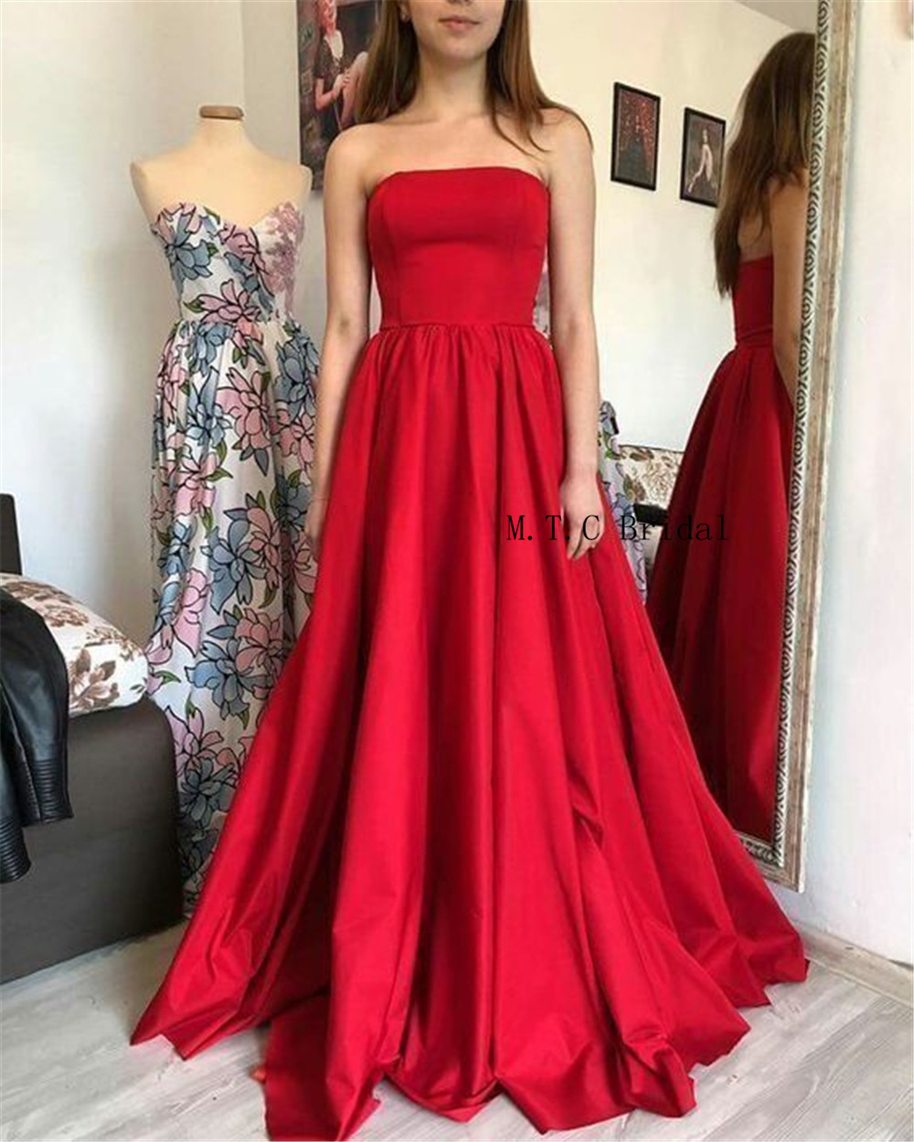 2019 Simple Red Long Dresses Prom Strapless A Line Floor Length Cheap Satin Evening Gowns Hot