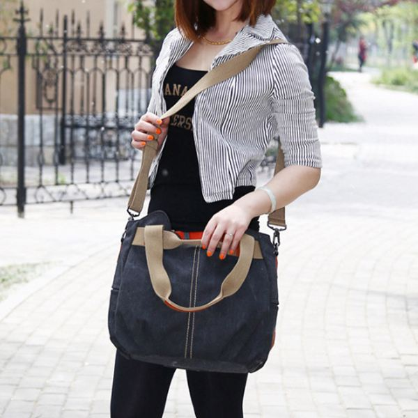 Hot sale Women's Ladies Casual Vintage Hobo Canvas Daily Purse Top Handle Shoulder Shopper Handbag 1