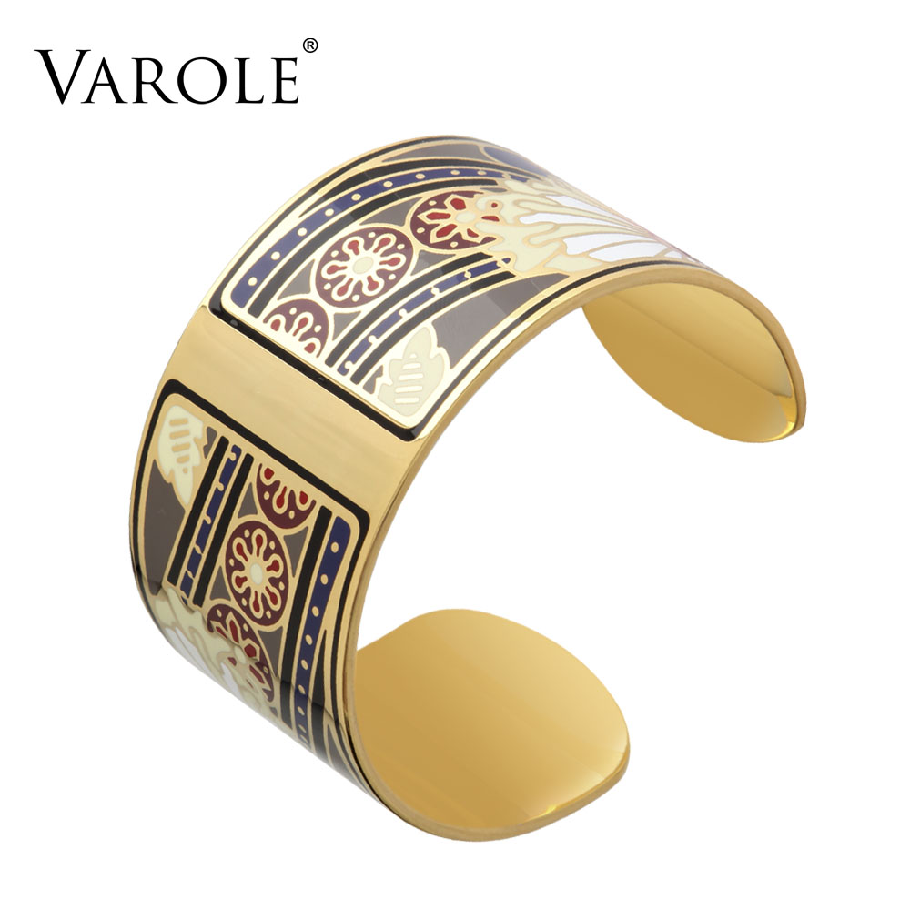 VAROLE Romantic Flower Gold Color Colorful Copper Bangles & Bracelets Bangle for Women Cuff Bracelet Pulseiras Enamel Jewelry
