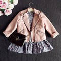 New Pink Color  Girls Leather Jacket  Good Quality  Children Coat  Abrigos Ninas   Girls Jacket 6BCT124
