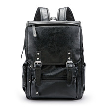 Travel Leather Backpack Rucksack Shoulder School Bag High capacity Simple Casual Schoolbag high quality Mochila Feminina недорого