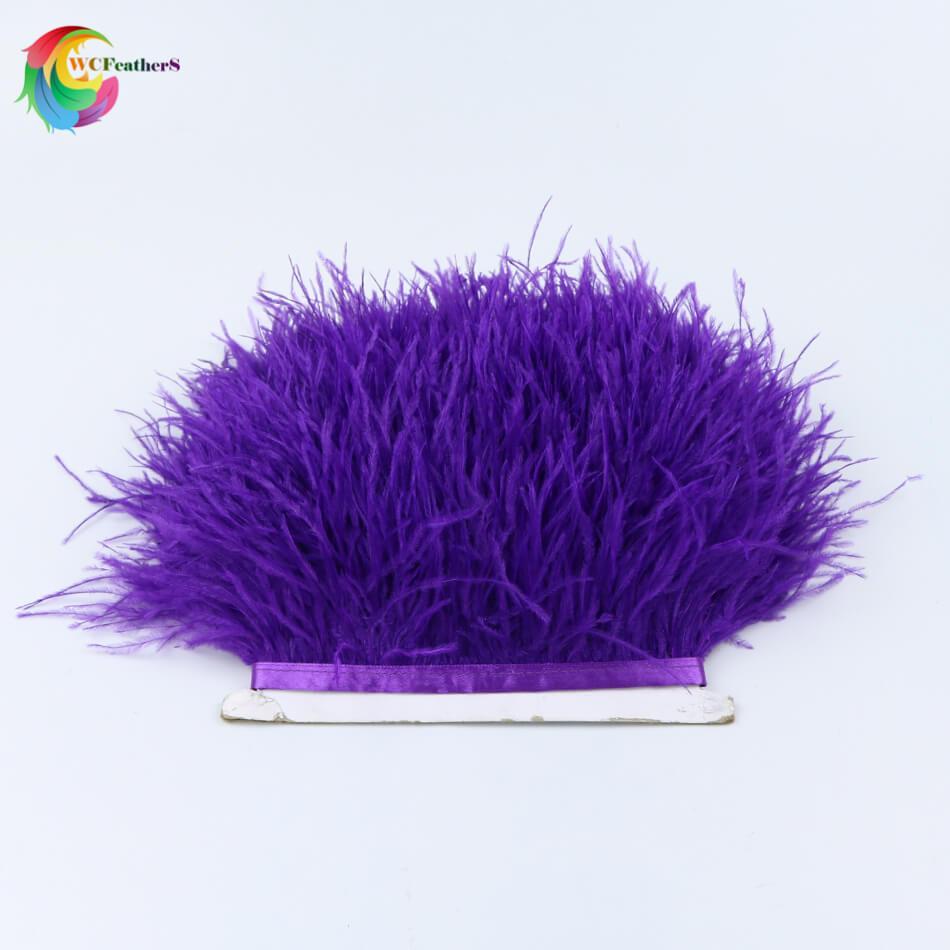 1 метр 32 цвета обрезки из натуральных перьев страуса высота 8-10 см Перья ленты для DIY свадьба на праздник, украшение для платья Ремесло - Цвет: O15 Dark Purple