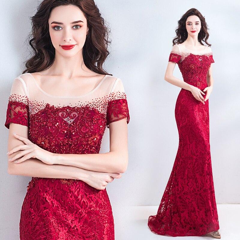Elegnat dentelle robes de soirée manches courtes paillettes robe de soirée broderie Applique à lacets dos longue robe de bal trompette