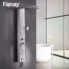 Fapully Bathroom Shower Panel Wall Mounted Massage System Faucet with Jets Hand Shower Rain Waterfall Shower Panel new waterfall fashion luxury gold shower column shower panel hand shower massage jets stainless steel plate shower faucet