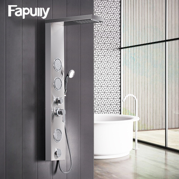 Fapully Bathroom Shower Panel Wall Mounted Massage System Faucet with Jets Hand Shower Rain Waterfall Shower Panel LY112-01N promotion black shower column tower single handle wall mount rain waterfall with massage jets shower system brass hand shower