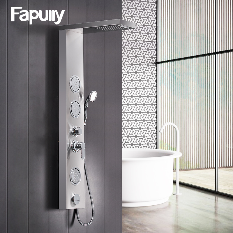 fapully bathroom shower panel wall mounted massage system faucet with jets hand shower rain waterfall shower panel