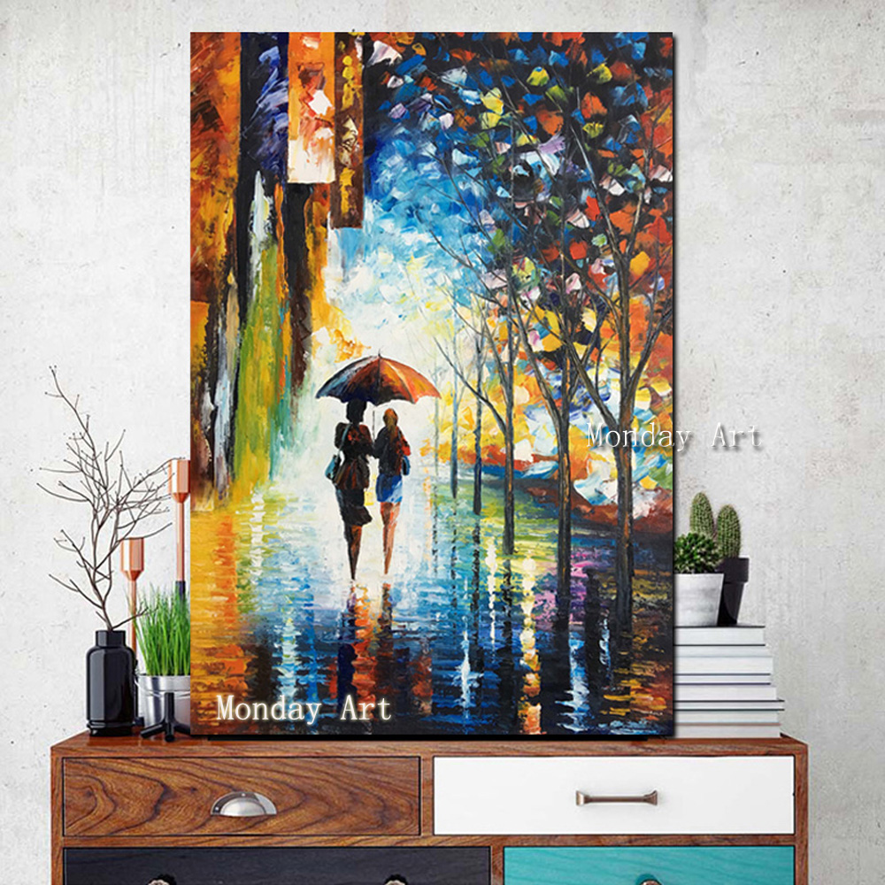 100-Handmade-Knife-Palette-Abstract-Landscape-Oil-painting-Rainy-evening-stroll-art-Modern-painting-on-canvas (4) -