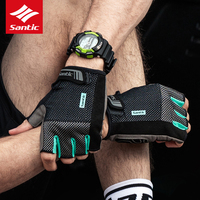 Santic Padded Cycling Gloves Shock proof Men Summer Half Finger Bike Bicycle Gloves Sports Gloves Luva Guantes Ciclismo 2018