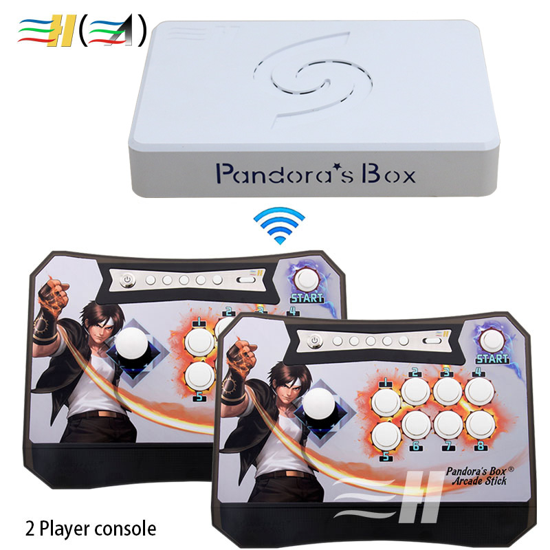 Kotak Pandora 6 nirkabel 1300 in 1 game arcade controller kit untuk controle arcade control mesin akseptor koin 2 Pemain