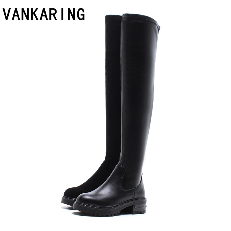 VANKARING 2018 brand over the knee high boots soft leather chunky high heel women long boots plus size winter fashion snow boots plus size 34 43 autumn winter genuine leather women flower shoes lady high heel long boots embroidered over knee high snow boots