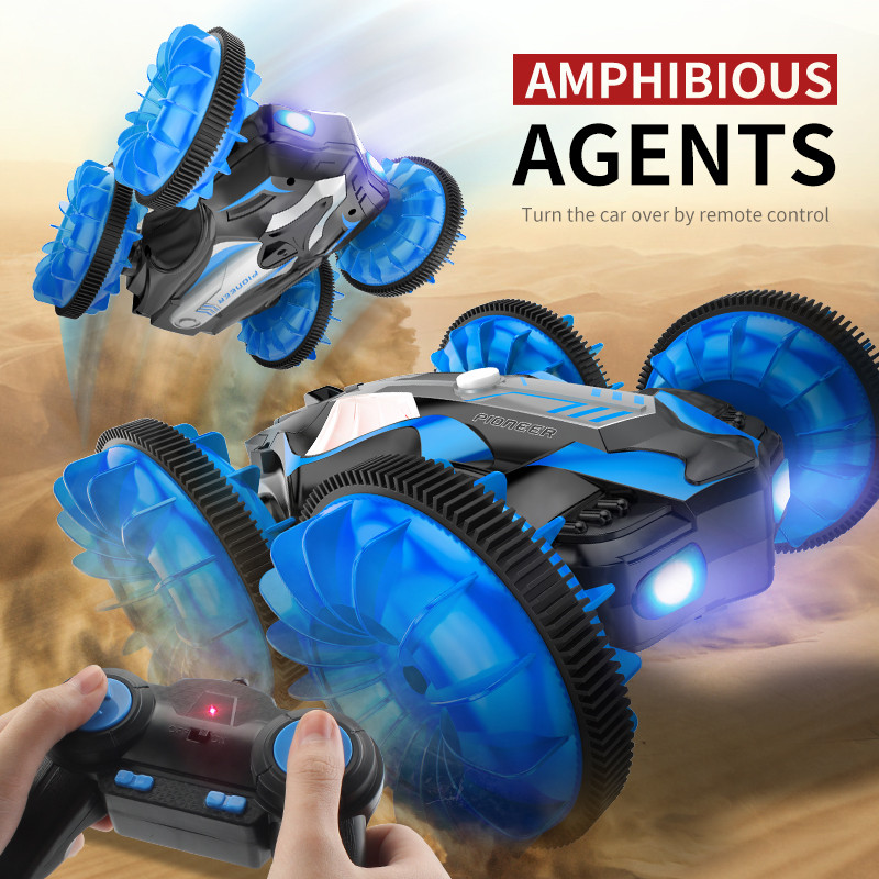 C10 Water And Land RC Car Amphibious Agents 360 Rotate Remote Control Stunt Car Electric LED Night Light RC Robot Car For Kids