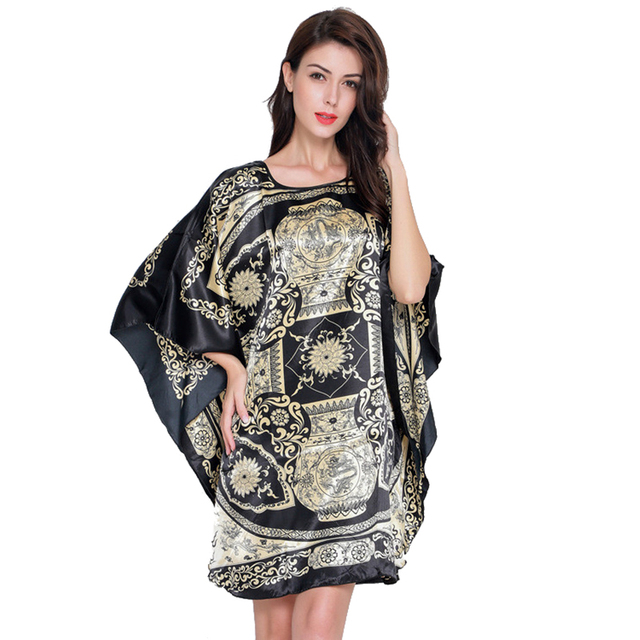 Novelty Print Black Female Satin Robe Dress Nightgown