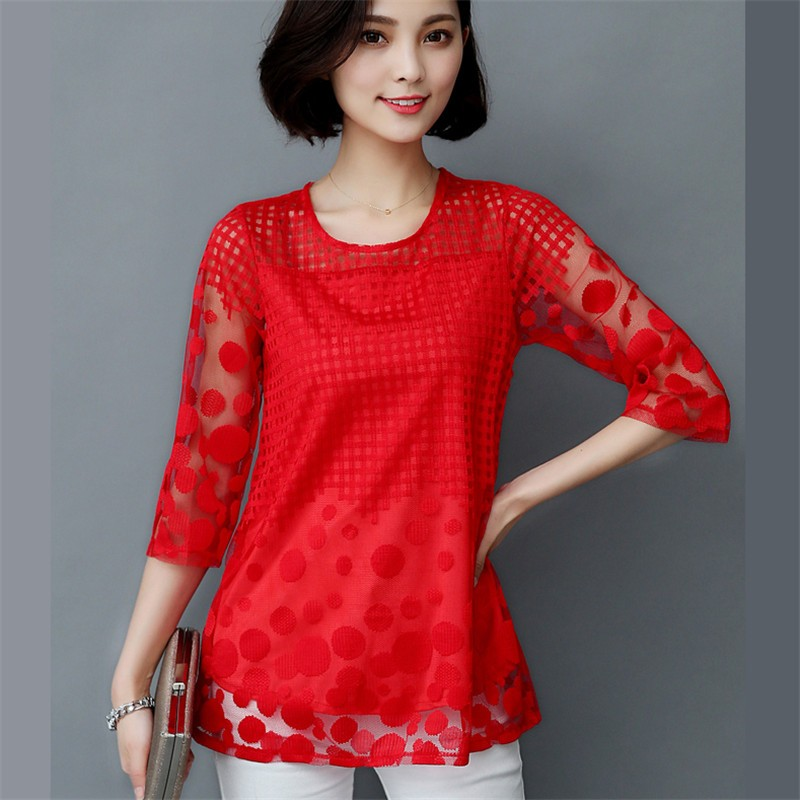 HTB1uDzKOpXXXXacaXXXq6xXFXXXo - 5XL Women Fashion Elegant Lace Blouse Shirt Chiffon 3/4 Sleeve