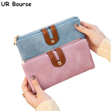 UR BOURSE Women Long Clutch Bag Female Multi-card Wallet Ladies Two Folding Buckle Card Holder Girls Pu Leather Handbag